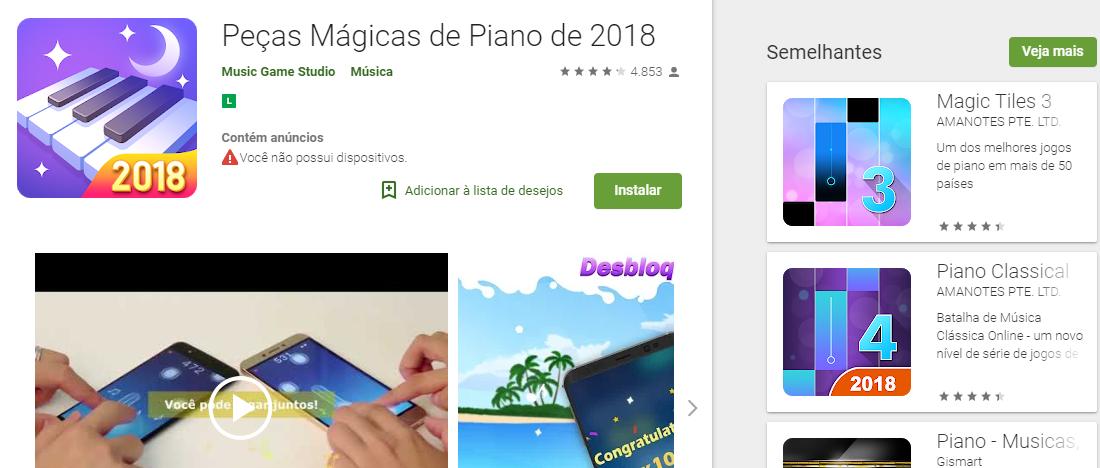 Peças Mágicas de Piano Android