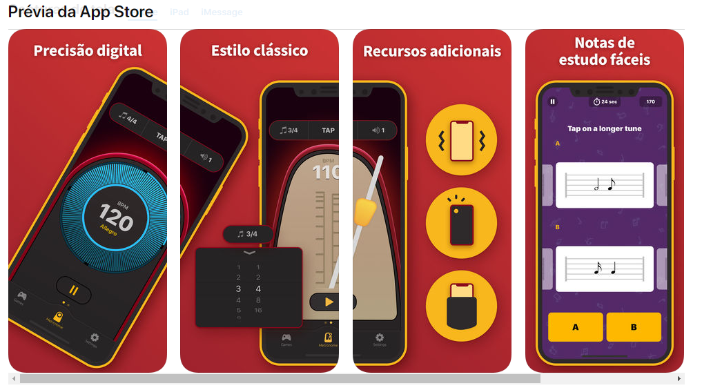 Visão do Metrônomo da App Store 1 - Como Usar o Metrônomo Para Tocar Acelerando o Aprendizado No Tempo Certo