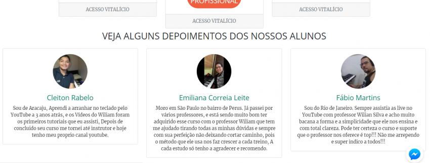 Depoimentos de alunos do curso de teclado online e1539117827619 - Curso de Teclado Online Completo do Wiliam Silva