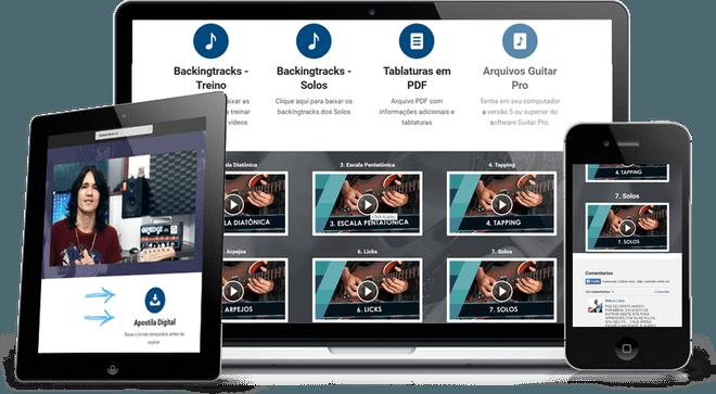Imagem da disposição dos vídeos do curso de guitarra na plataforma - Curso Ozielzinho Kit Técnica De Guitarra Rock 2.0 Online