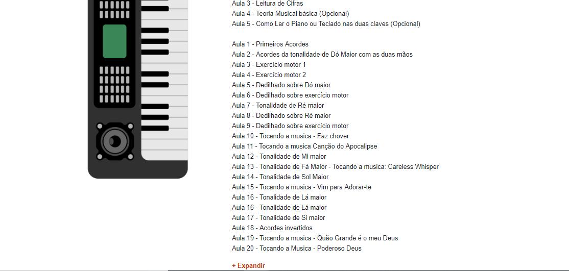 Módulo do curso de teclado para iniciantes - Curso de Teclado Online Completo do Wiliam Silva
