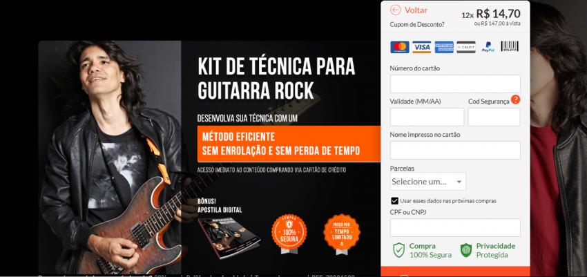 Página de pagamento do curso de guitarra online