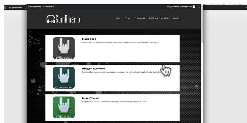Alguns módulos do curso - Curso de Mixagem e Masterização Online: Domine a Produção Musical Com Studio One (DAW)