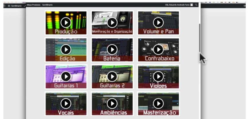 Vídeos de módulos do curso online de mixagem e masterização