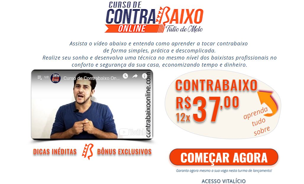 Imagem do Curso de contrabaixo online - Curso de Contrabaixo Online Completo: Aprenda a Tocar com TOP Aulas de Baixo
