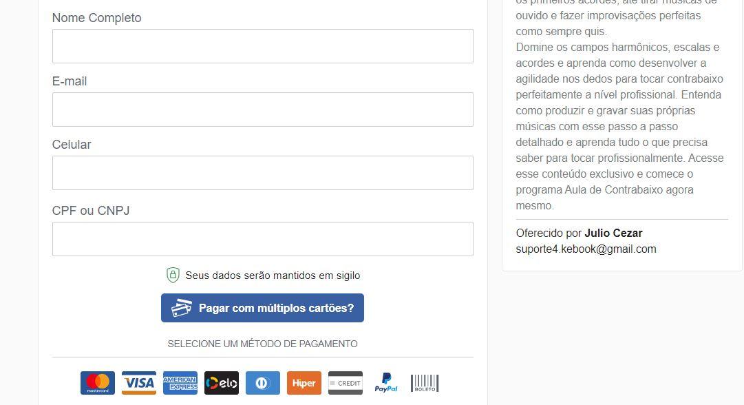 tela de pagamento do curso de baixo online