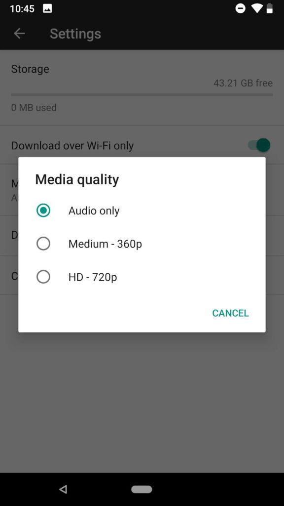 Alterar a qualidade do download da mídia