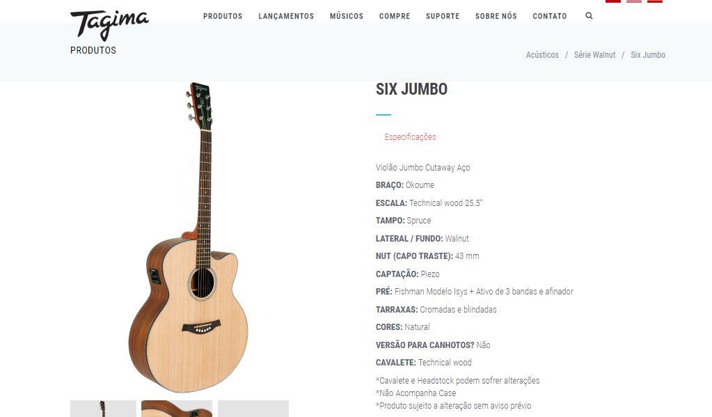 Tipo de violão Jumbo Cutaway